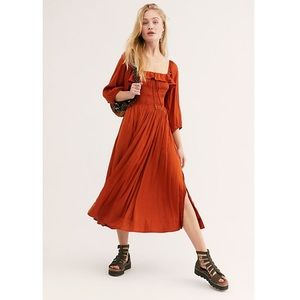 Free People Silky Smocked Volume Midi Dress